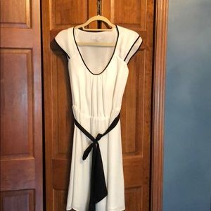 White dress with black trim